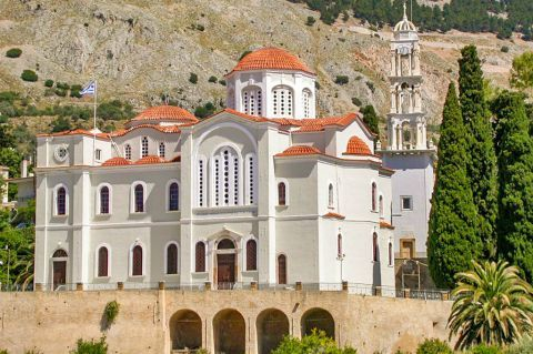 Vrondados: Impressive church with ceramic roof tiles.