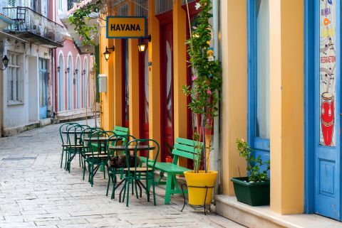 Town: A colorful spot in Lefkada Town.