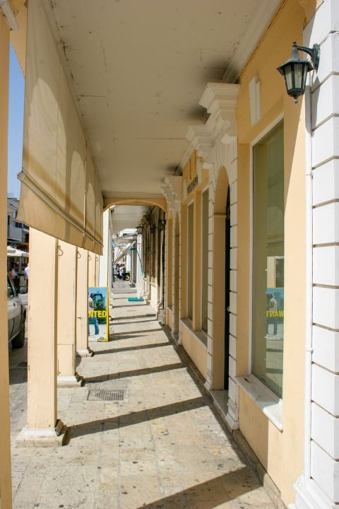 Town: Elegant buildings in the center of Lefkada Town.