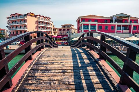 Town: The floating bridge that connects Lefkada with the rest of Greece