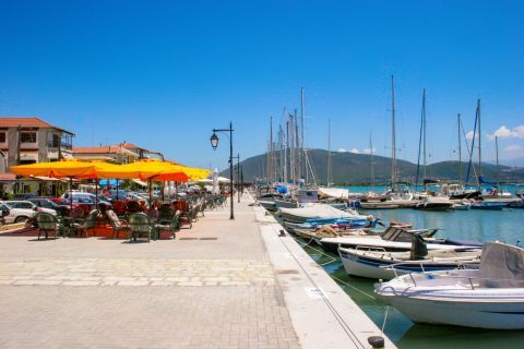 Town: At the port of Lefkada Town.
