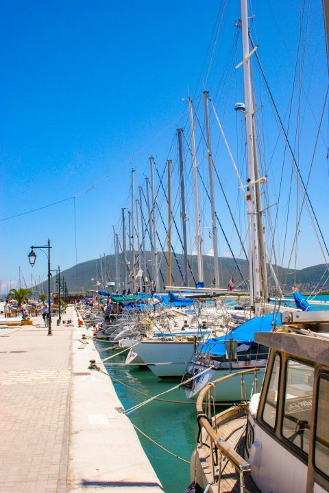 Town: Sailing boats, mooring on the port of Lefkada Town.