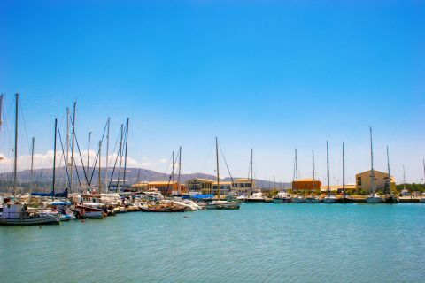 Town: Sailing boats on the port of Lefkada Town.
