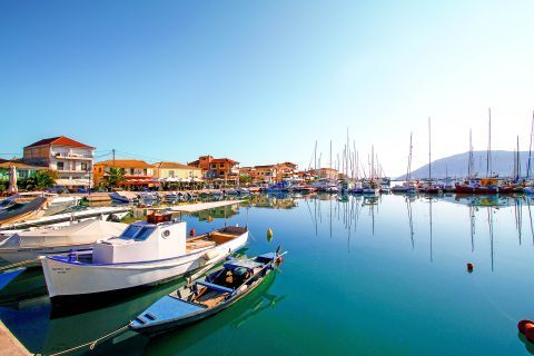 Town: The Town of Lefkada lies around a natural harbor.