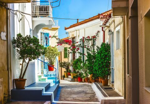 Town: A picturesque neighborhood in Poros Town