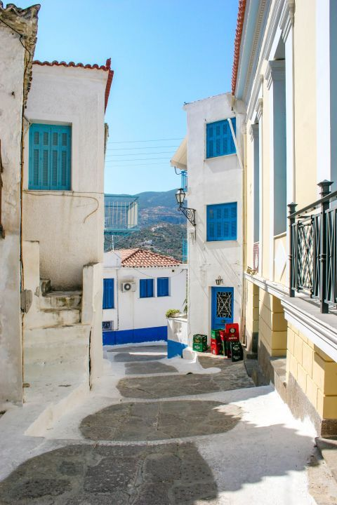 Town: Whitewashed houses and colorful shutters.