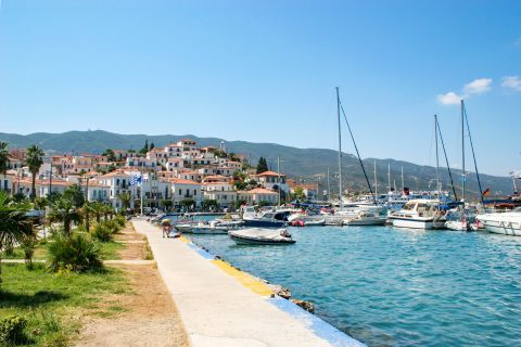 Town: Sailing boats on the port of Poros.