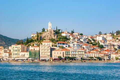 Town: Approaching the port of Poros Town.