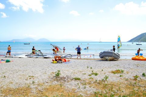 Vassiliki: Water sports facilities and windsurfing clubs renting material are available on the beach.