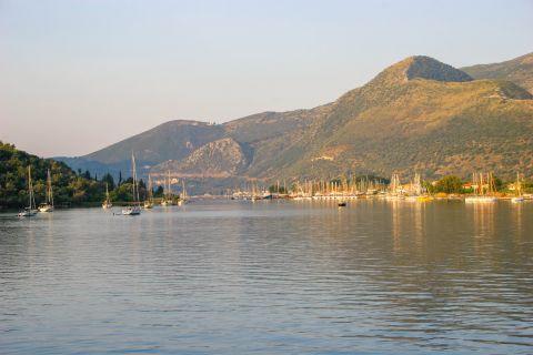 Nidri: View of mountains and calm sea.