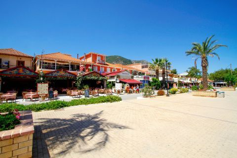 Nidri: A central square, surrounded by taverns and cafes.
