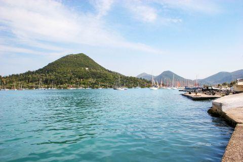 Nidri: Green hills and blue waters.