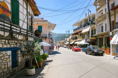 Nidri: A central street with cafes and shops.