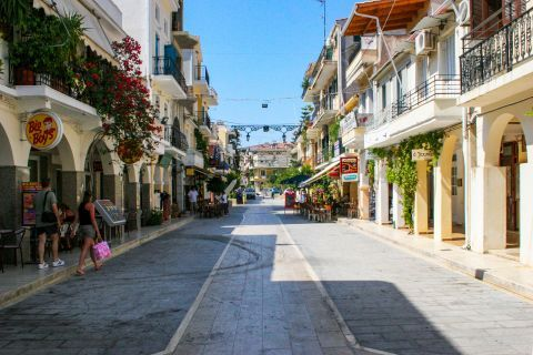 Town: A street with many different shops.