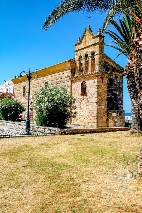 Town: The Church Agios Nikolaos of Molos is a unique sight in Zakynthos Town.
