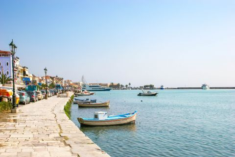 Town: Paved promenade on Zakynthos Town harbor.