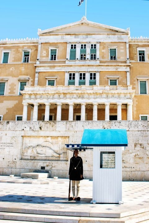 Syntagma: Evzon or Tsolias guarding the tomb of the Unknown Soldier