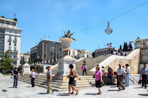 Syntagma: Outside the metro station of Syntagma