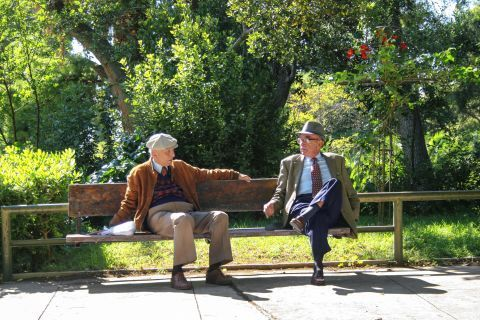 Syntagma: Old men relaxing on a bench in the National Garden