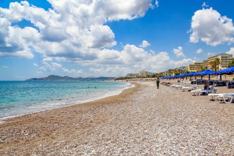 Kallithea: Some umbrellas and sun loungers on Kallithea beach.