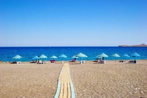 Kalathos: An organized spot on Kalathos beach.