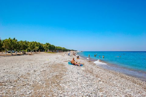 Kremasti: Kremasti is a tranquil beach with blueish waters and soft pebbles.