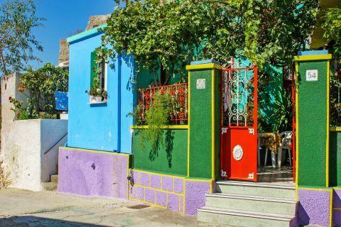 Koskinou: A house with colorful walls.