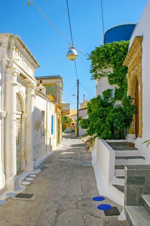 Koskinou: A narrow street with traditional houses.