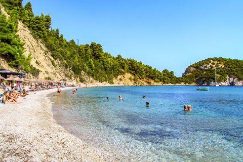 Stafilos: Stafilos beach is partly organized.