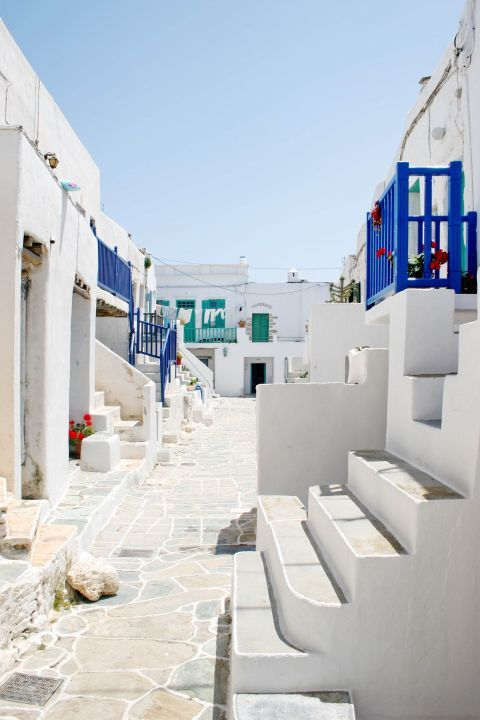 Chora: Whitewashed houses with blue-colored details