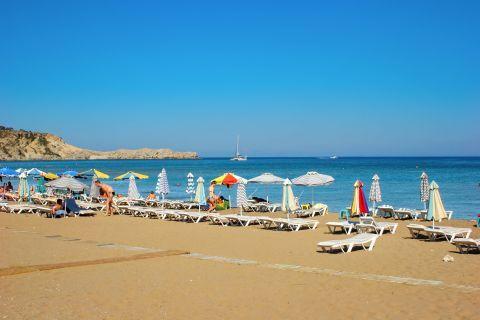 Tsambika: A well organized spot on Tsambika beach.