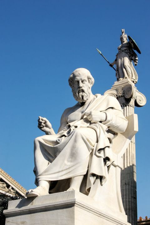Panepistimiou Ave: Statue of Plato in front of the Academy of Athens