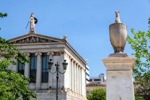 Panepistimiou Ave: An amphora statue outside the National University of Athens