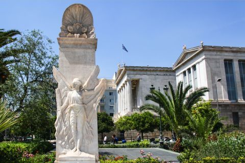 Panepistimiou Ave: One of the statues in Panepistimiou Ave