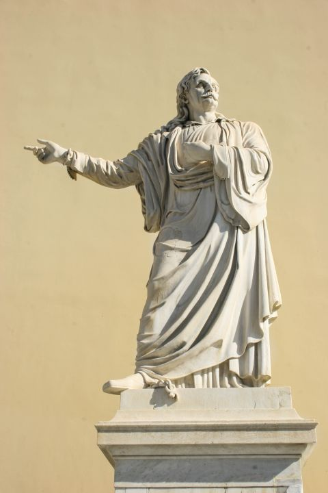 Panepistimiou Ave: The statue of Rigas Velestinlis at the National University