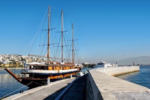 Piraeus: A sailboat at the Bay of Zea
