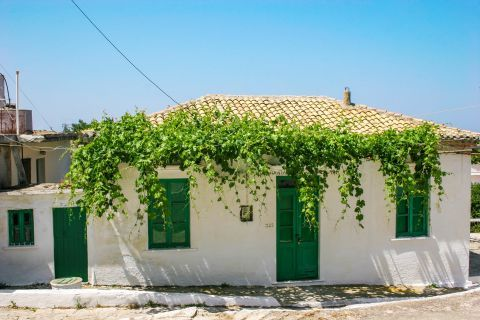 Volimes: White and green colors and ceramic roof tiles.