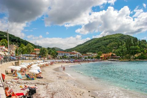 Town Beach: Parga beach has many tourist amenities, including nearby hotels, taverns and cafes.