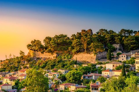 Town: Houses in Kyparissia Town, surrounded by beautiful trees