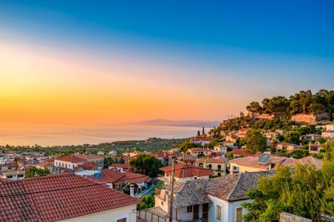 Town: Beautiful sea view from Kyparissia Town