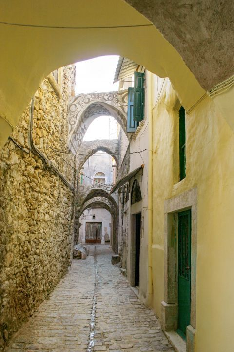 Pyrgi: A narrow street with arches