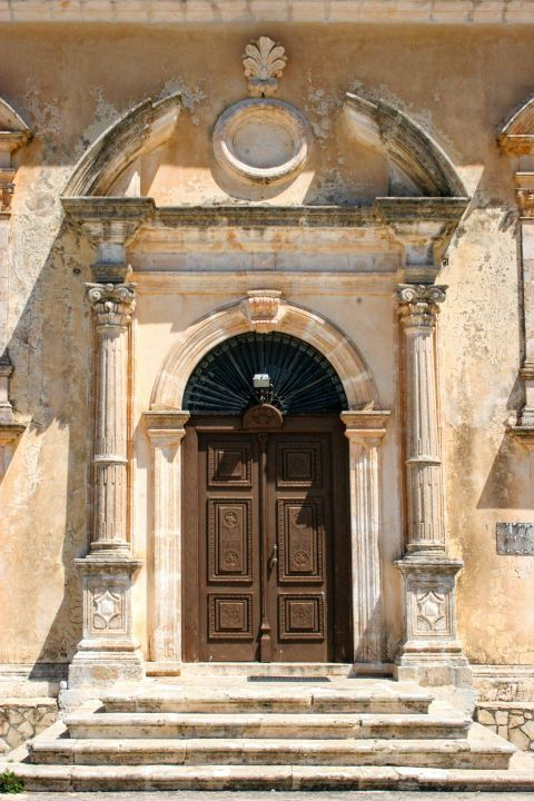 Keri: The entrance of Panagia Keriotissa church.