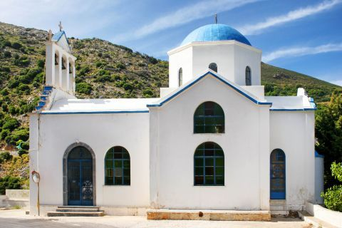 Koronos: A church in white and blue colors