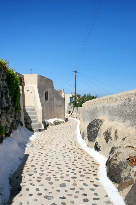 A rock-paved path in Finikia village