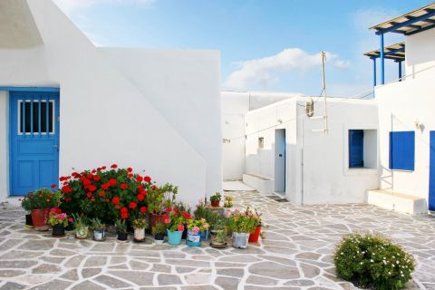 Prodromos: Flower pots and Cycladic houses