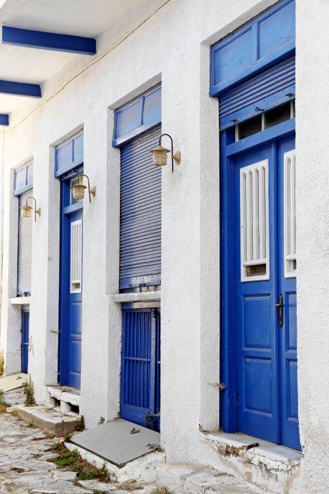 Halki: Blue-colored doors