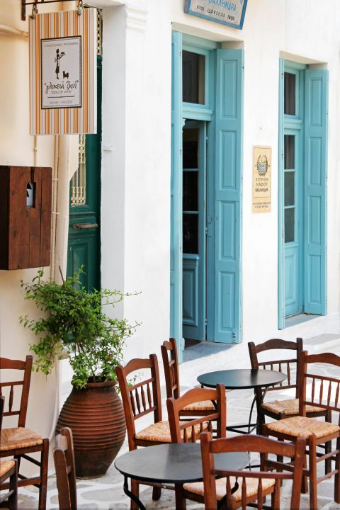 Halki: A local pastry and the entrance of Vallindras distillery