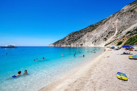 Myrtos: Crystal clear waters and soft pebbles