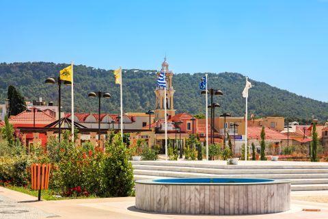 Ialissos Village: A central square in Ialissos village.