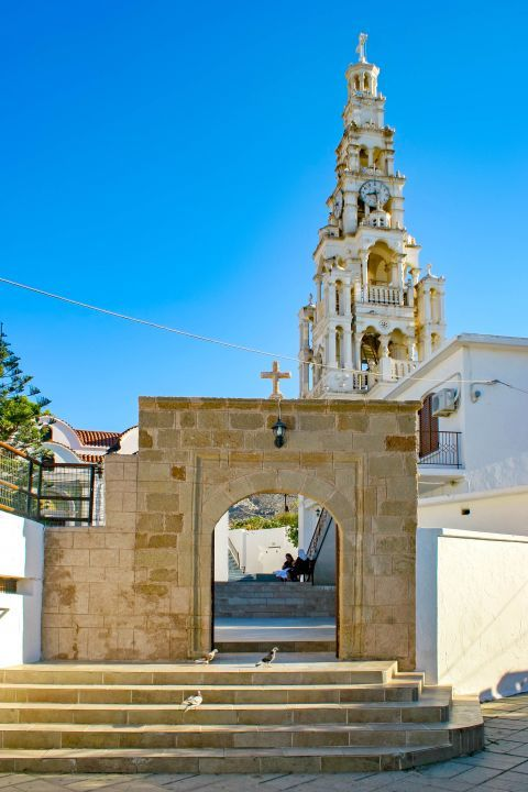 Archangelos: Entering the premises of the Catholic Church of Archangelos.